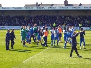 Team applaud the fans, John Ward too